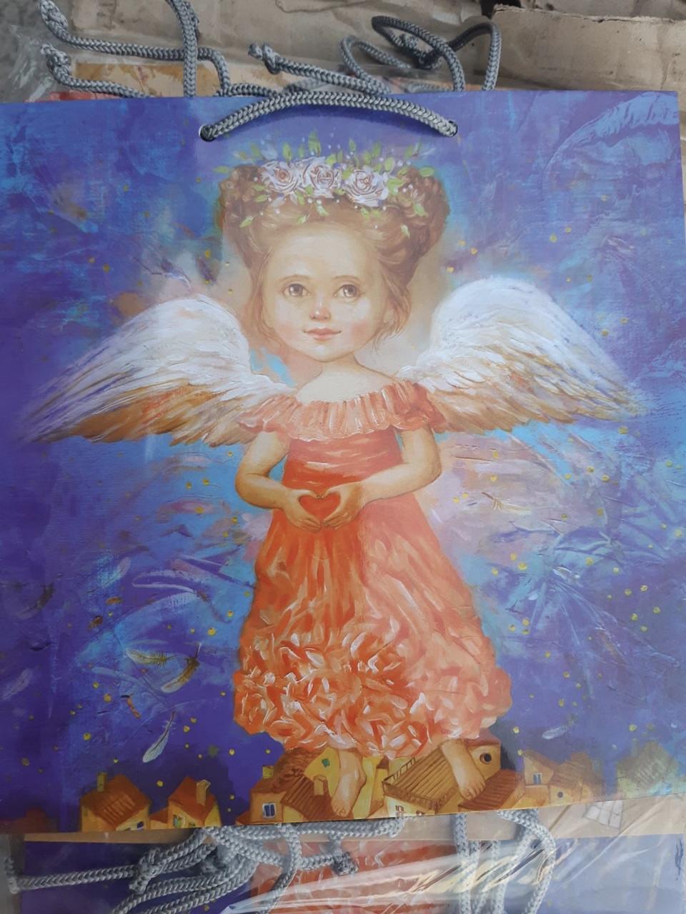 Подарочный бумажный пакет КВАДРАТ 24*24*10 см Ангел