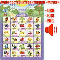 Интерактивный детский плакат Фрукты на трех языках | Фрукти, (UKR-ENG-RUS), Smart Koala