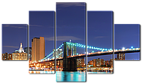 Модульная картина Interno Холст Вид на мост в Нью-Йорке 123х69см (R4513M)