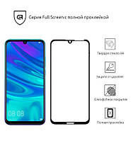Защитное стекло для Huawei Y7 2019 Black(Полный клей)