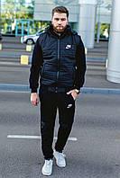 Тёплый спортивный мужской костюм-тройка из трёхнитка со стёганым жилетом 48-54 размер