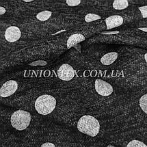 Трикотаж ангора софт принт белый горох на темно-сером, фото 2