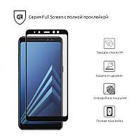 Защитное стекло для Samsung A8 Black(Полный клей)