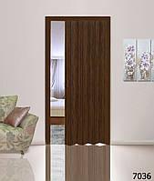 Дверь-гармошка глухая. Цвет: орех №7036 2030мм/810мм/6мм