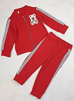 Спортивный костюм на змейке для девочки 92-110 красный