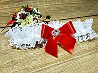 Свадебная подвязка для невесты Elle. Цвет красный.