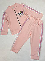 Спортивный костюм на змейке для девочки 92-110 персик