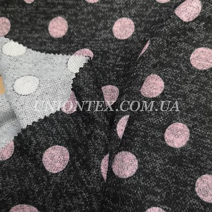Трикотаж ангора софт принт розовый горох на темно-сером, фото 2