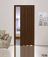 Дверь-гармошка глухая. Цвет: орех №7036 2030мм/810мм/1мм