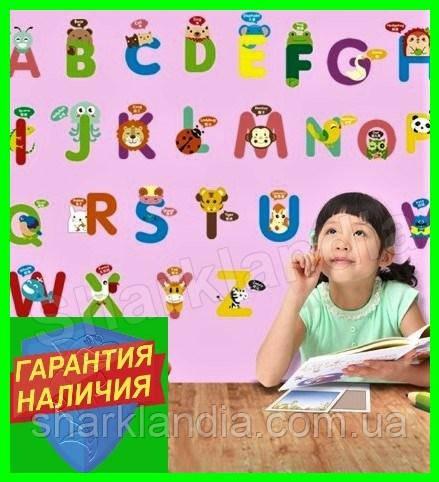 Интерьерная виниловая наклейка в детскую комнату на стену Английский алфавит Звери