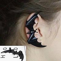 Украшение на хэллоуин - серьга каффа  «Летучая мышь», носится на одном ухе, цвет черный.