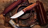 Нож складной, с деревянной рукояткой овального сечения,  с подпальцевой выемкой и мелкой, «шершавой» насечкой, фото 1