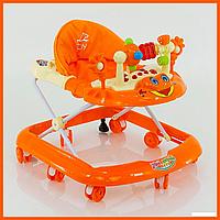 Детские ходунки музыкальные модель 528, оранжевые - 155939