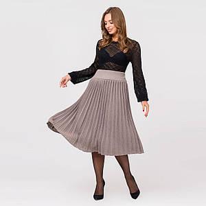 Вязаная юбка плиссе миди цвета капучино