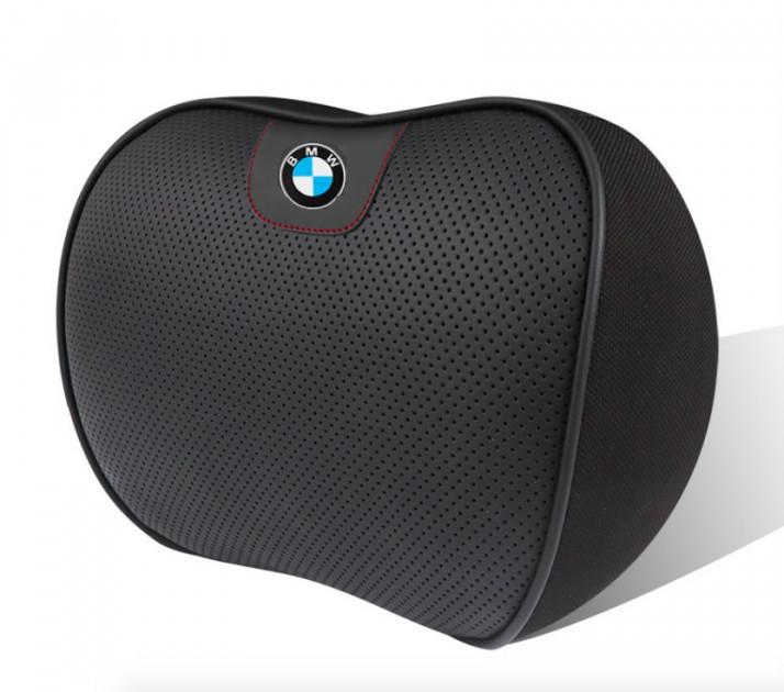 Автомобильная подушка на подголовник для авто BMW ортопедическая с логотипом