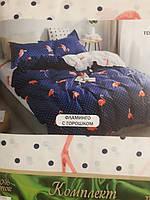 Семейный комплект Фламинго с горошком Бязь Тиротекс