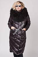 Пуховик с мехом натуральной ламы overzayz Vechereme 9085, фото 1