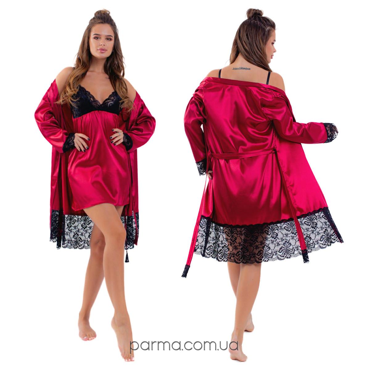Шёлковая ночная рубашка с халатом (р.42-44,46-48) марсала
