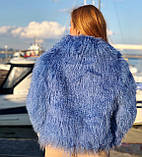 Блакитна шуба з ЛАМИ 55 см з коміром, фото 3