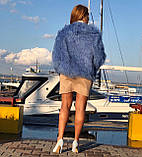 Блакитна шуба з ЛАМИ 55 см з коміром, фото 6