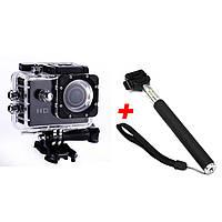 Широкоугольная экшн камера ACTION CAMERA B5R с пультом + Монопод nri-2260, КОД: 395470
