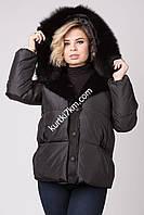 Зимняя куртка с отделкой из дубленки Snow beauty 2082