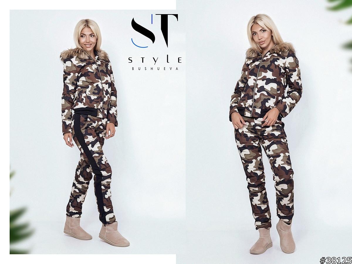 Женский прогулочно-спортивный костюм в стиле милитари, еврозима  куртка и штаны принт камуфляж на синтепоне