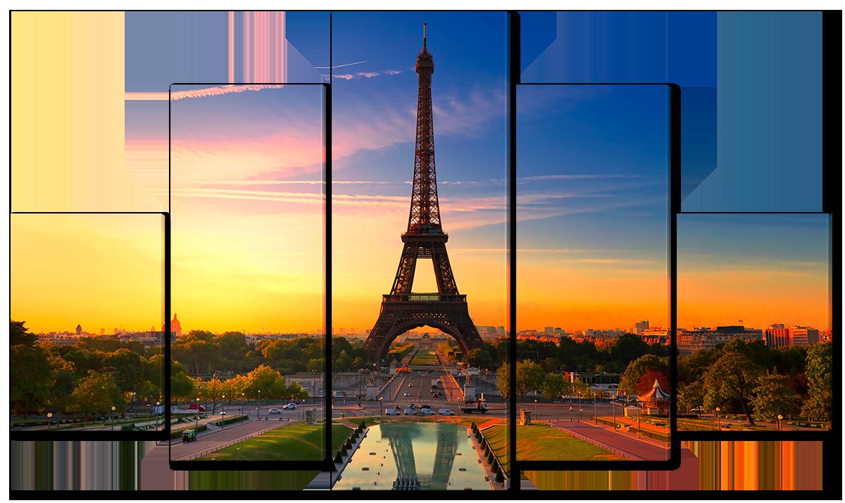 Модульная картина Interno Эко кожа Закат над Эйфелевой башней 123х69см (A4516M)