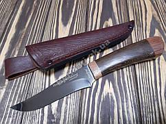 Нож охотничий  рукоять дерево Венге +кожаный чехол ,сталь 440с