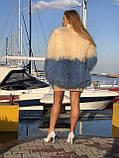 Белая голубая шуба из ЛАМЫ 75 см, фото 7