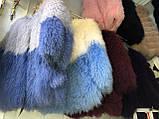 Белая голубая шуба из ЛАМЫ 75 см, фото 5