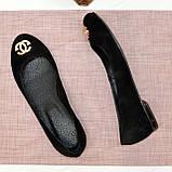 Туфли женские черные замшевые, декорированы металлическим бантиком, фото 6