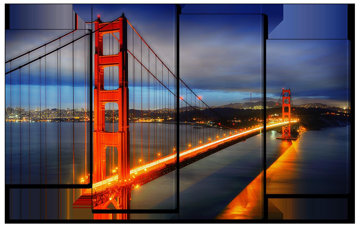 Модульная картина Interno Холст Мост Золотые Ворота ночью 126x77см (R4523L)