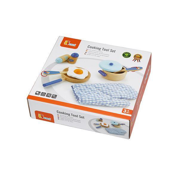 Детский кухонный набор Viga Toys Игрушечная посуда из дерева, голубой (50115)