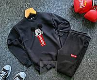 Зимний мужской спортивный костюм Supreme, черный