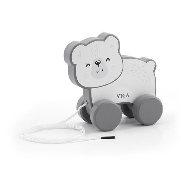 Дерев'яна каталка Viga Toys PolarB Білий ведмедик (44001)