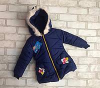 """Детская куртка еврозима для девочки """"Цветочки"""" 2-4 года, темно-синего цвета"""