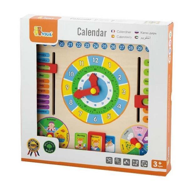 Дерев'яний календар Viga Toys з годинником (59872)