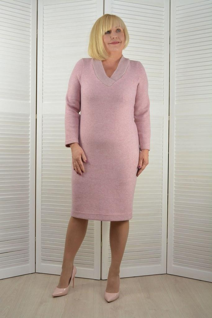 Платье розовое с V вырезом - Модель Л558-6
