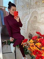 Теплый костюм женский, стильный, бордовый, 211-0831-2