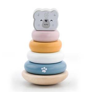 Дерев'яна пірамідка Viga Toys PolarB Білий ведмедик, неваляшка (44005)