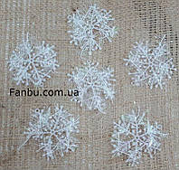 Сніжинки білі 1 уп-6шт(пластик),d-5см, фото 1