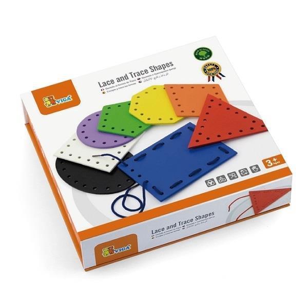 Дерев'яна шнурівка Viga Toys Геометричні фігури (50538VG)
