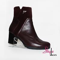 Ботинки женские демисезонные бордовые* на каблуке