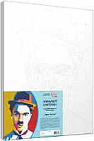 Набір-стандарт техніка акриловий живопис за номерами Чарлі Чаплін, фото 1