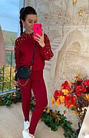 Теплый костюм женский, стильный, бордовый, 211-0840-4