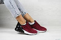 Женские кроссовки Nike Air Max 270, замша, пена, бордовые.