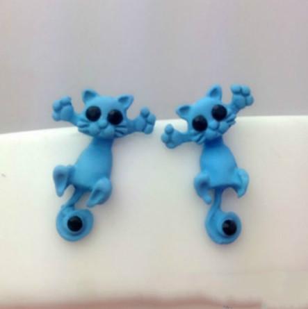 Серьги в виде кошки голубые - размер 2см, материал сплав