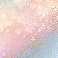 """Лист односторонней бумаги с фольгированием """"golden stars bokeh effect"""" Фабрика Декора"""