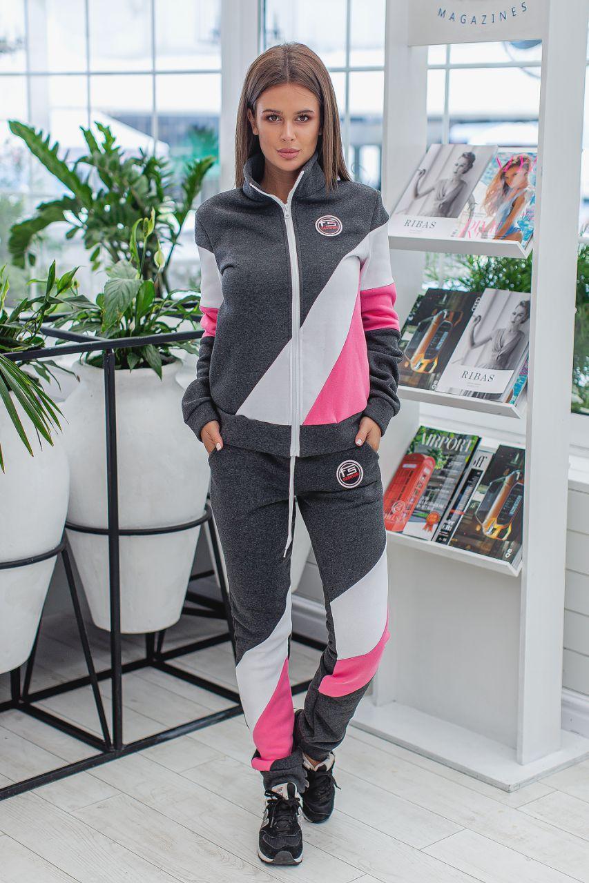 Женский теплый спортивный костюм с начесом: штаны и кофта на змейке с воротом стойкой